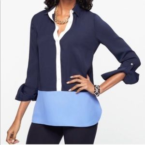 Talbots Colorblock Blouse size Small Blue